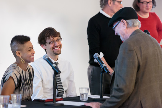 Jacqueline Stewart, Patrick Jagoda, and Tom Mitchell confer before the symposium.