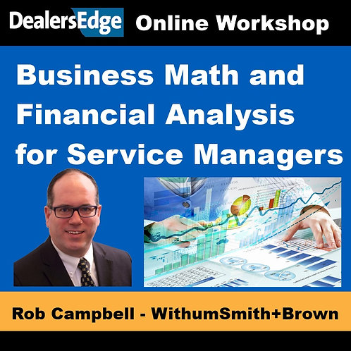 Business Math and Financial Analysis for Service Managers
