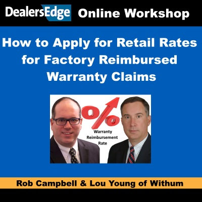 How to Apply for Retail Rates for Factory Reimbursed Warranty Claims