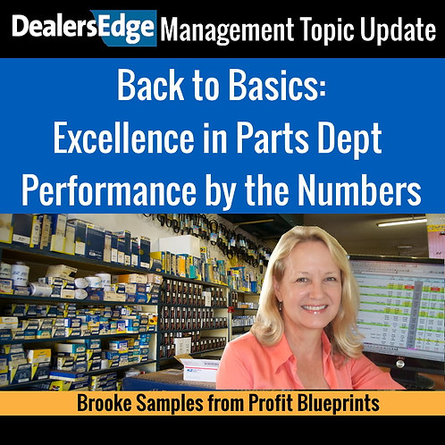 Excellence in Parts Dept Performance by the Numbers