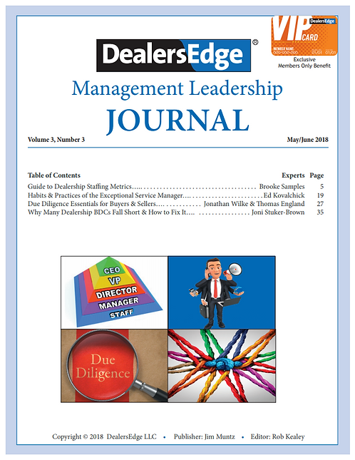 The DealersEdge Journal of Leadership and Management Volume 3, Number 3 2018