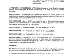 Confira decreto 500 do Executivo Municipal de Maravilha