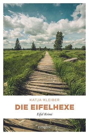Cover des Krimis die Eifelhexe. Ein vernachlässigter Holzbohlensteg führt durch das Hohe Venn.