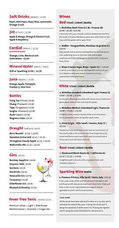 Drinks menu at buffetking