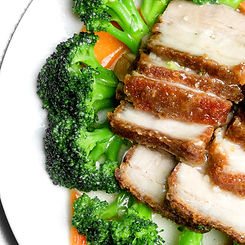 Crispy Pork Belly and Broccoli at Buffet King