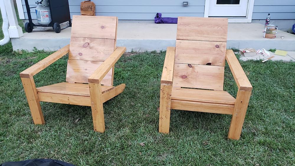 DIY Modern Adirondack Chairs - Behr Cedar Stain