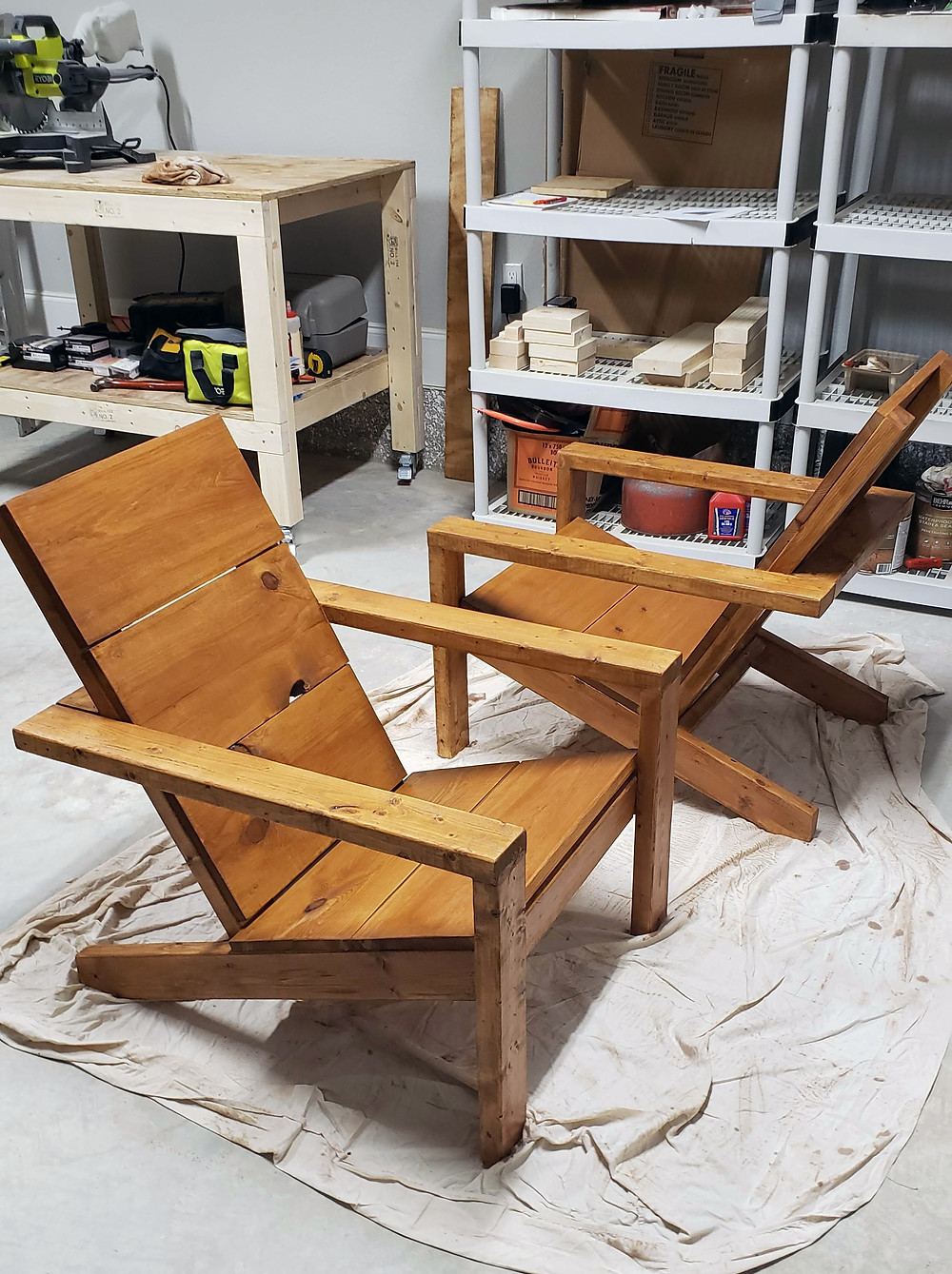 Modern Adirondack Chairs with Behr Chocolate Stain