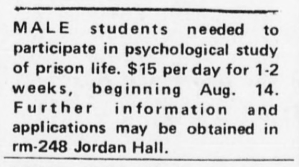 ADVERTISEMENT FOR STANFORD PRISON EXPERIMENT