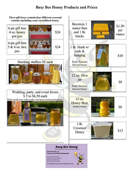 Busy Bee Honey Product Prices 2020-12 pg