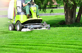 Lawn mower machine on a green lawn.jpg