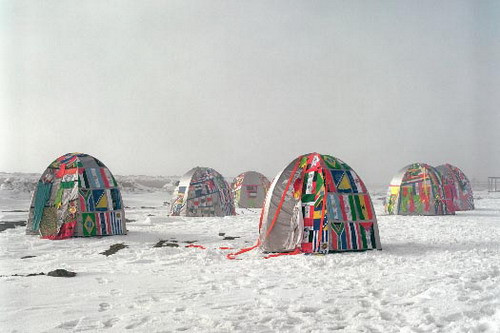 Antarctic Village — No Borders 2007, ephemeral installation in Antarctica, 2007, 50 dome dwellings: hand stitched with nation flags, fragments of clothing, webbing, silkscreen print dimensions variable 2007 Biennial al Fin del Mundo   26/54
