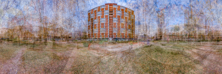"""Five Tower Apartments (Both Sides), Regent Park,Toronto 2019, Chromogenic Print, 32"""" x 96"""", In Collaboration with Tori Foster   8/66"""