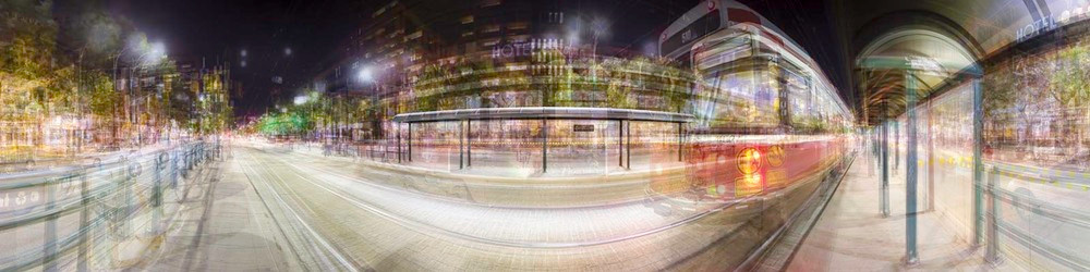 "Eight Streetcar Shelters (Night), Spadina Avenue 2013, Chromogenic print, 24"" X 96"" In collaboration with Jesse Colin Jackson   31/44"