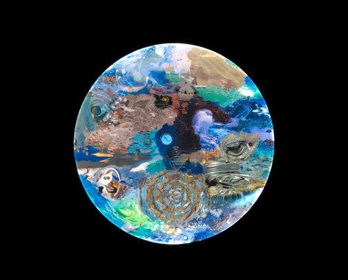 "Deep Aware Triads, Saudade, 2020, 48"" diameter lightbox   1/29"