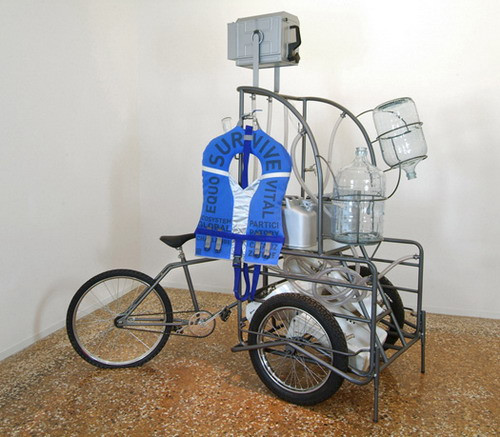 Orta Water — Mobile intervention unit, 2005 Mexican transport tricycle, metal structure, 5 sinks, glass, plastic tube, life jacket, 2 glass carrafes, 2 jerricans, 220 × 200 × 100cm   44/54
