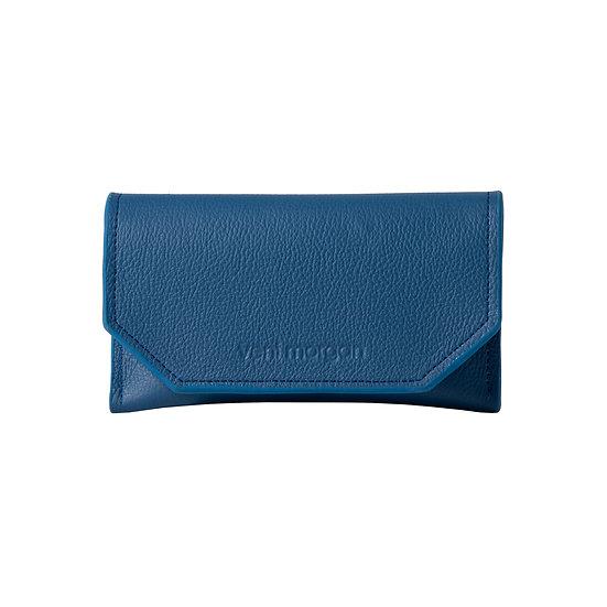 tobacco case in aegean blue leather