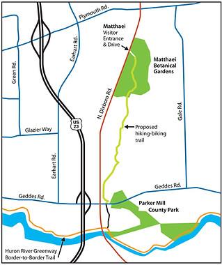Ann Arbor County UM Botanical Gardens Map
