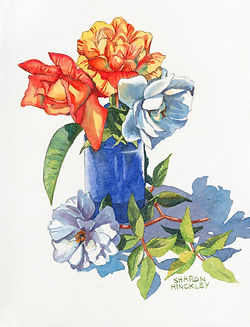 Hinckley_still life_Roses in a Blue Vase 11x8 WC 295.jpg