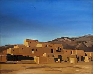 Morse_landscape_Taos Pueblo Oil 24x31 $5