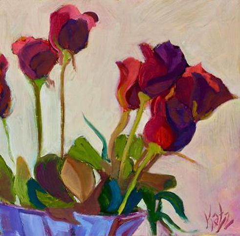 Katz Anniversary Roses 8x8 Oil on wood 3