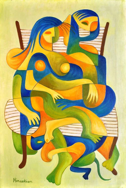 Hinaekin 8 Couple with cat on a chair -
