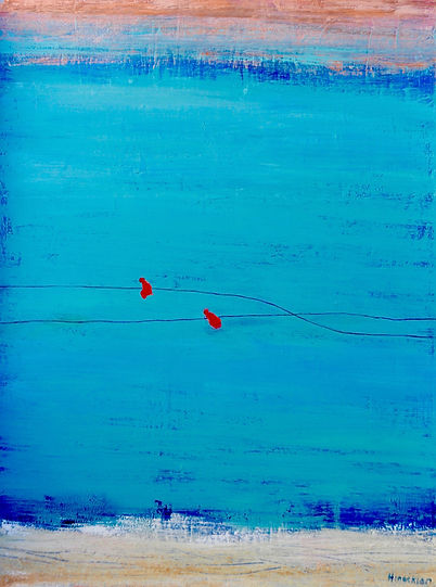 Hinaekian Two red birds on a wire  40 x