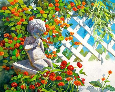 Hinckley Garden Cherub 29x35 wc $1497.jp