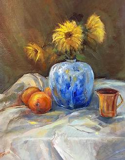 Ferrone_Still Life_Blue_Vase_with_Sunflowers Oil 365.jpg
