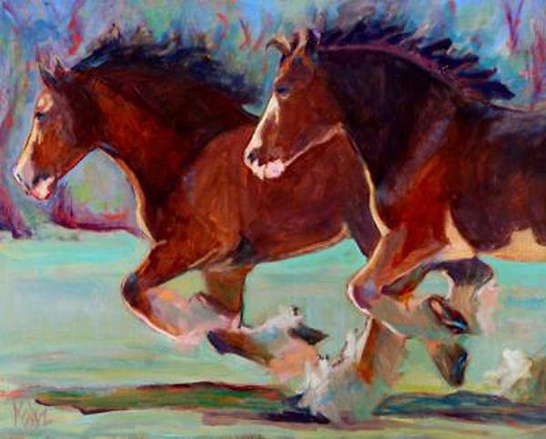 Katz Horse Play 16x20 Oil on Wood 650.jp