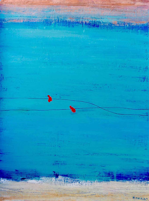 Hinaekin 1 Two red birds on a wire  40 x