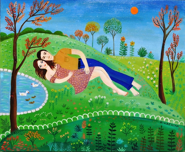 Hinaekian Couple on Gras, Giclee paintin