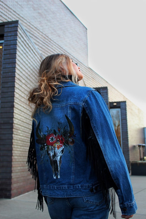 Upcycled Cow Skull Denim Jacket
