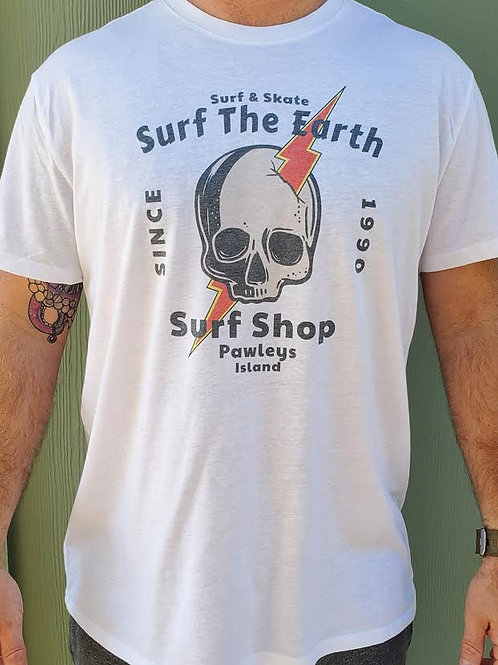 Surf The Earth - Skull/Bolt White