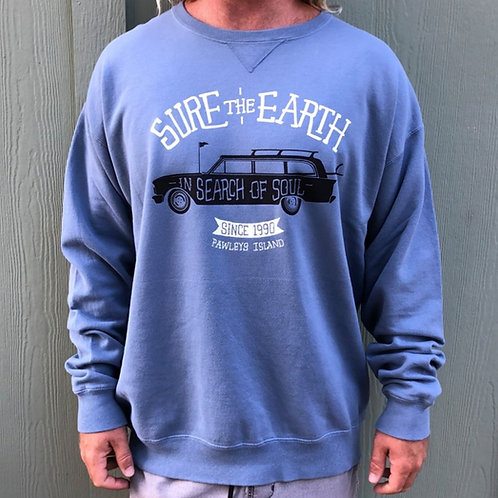 Wagon Pigment Dyed Crew Neck Fleece - Denim