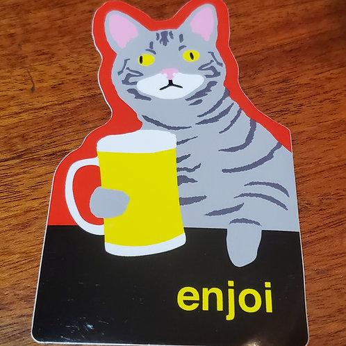 Enjoi - Cat Drinking Beer Sticker