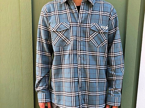 Surf The Earth Dusty Blue Flannel