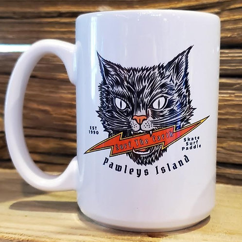 Surf The Earth Black Cat 15oz Mug