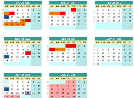 Calendario del curso 2020-21 / 2020-21 ikasturteko egutegia