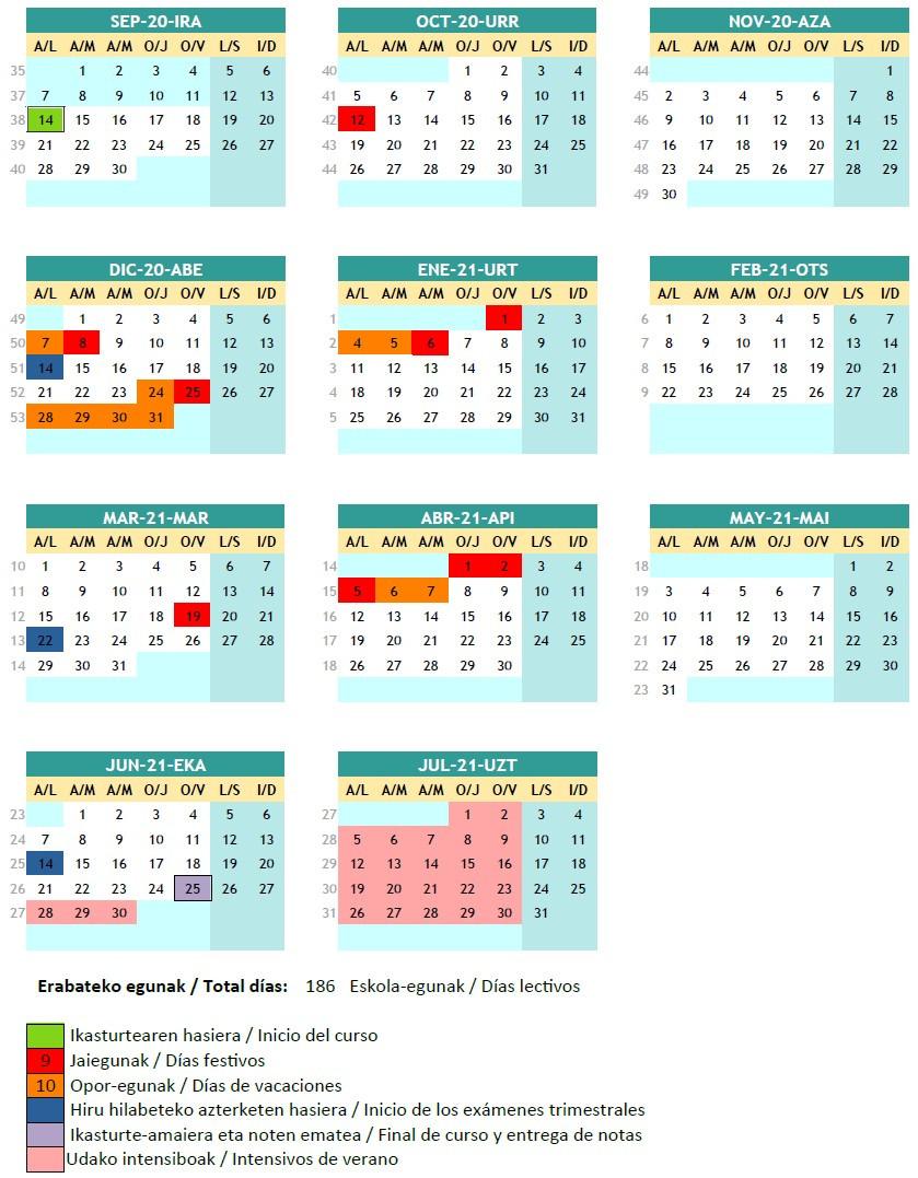 Calendario del curso 2020-21
