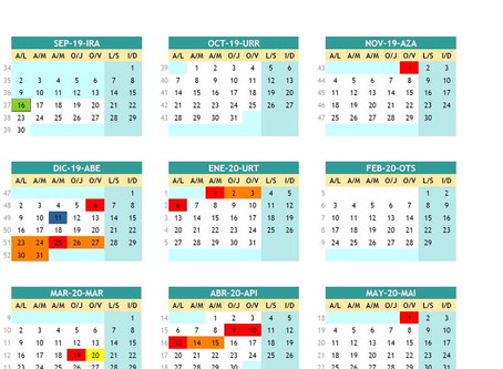 Calendario 2019-20ko Egutegia