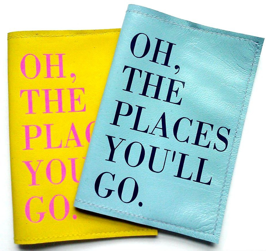 Places Passport Cover (Hot Pink/Gold)
