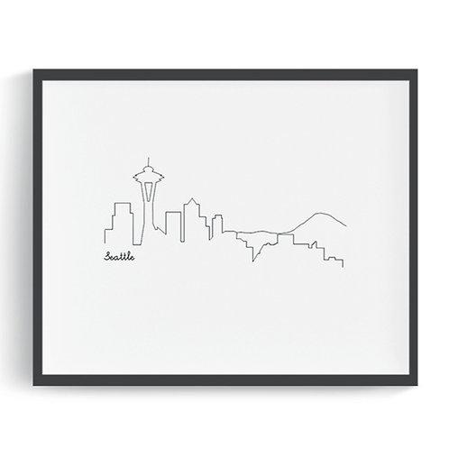 Seattle Skyline Printable Art