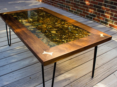 River bed table, walnut, epoxy resin, bowtie splines, hairpin legs, river stone, coffee table