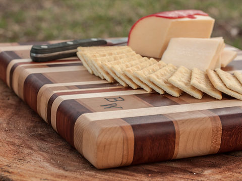 Cutting Board, end grain, butcher block, chacuterie board, chees board, padauk, maple, cherry, knife, crackers