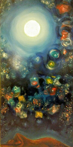 QUIET NIGHT WITH MOON AND STARS, 120x60