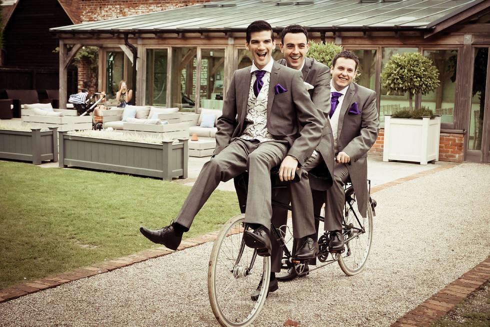 Groom and Groomsmen on a Bike
