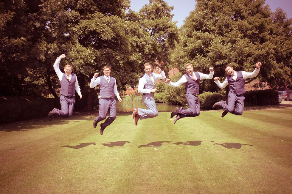Groom and Groomsmen fun jumping shot
