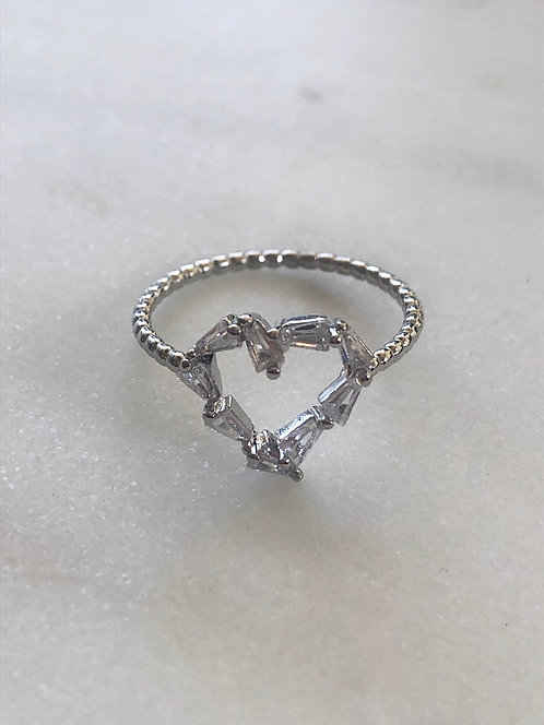 cz heart silver ring