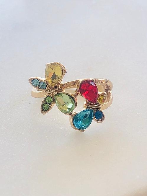 butterfly rhinestone ring