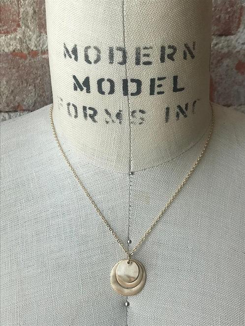 Rosegold matte disk cutout necklace